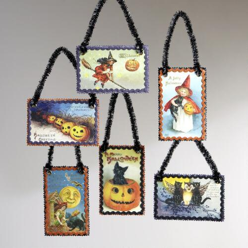 Vintage Reproduction Halloween Postcard Ornaments, Set of 6