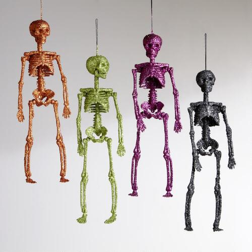 Glitter Skeletons, Set of 4