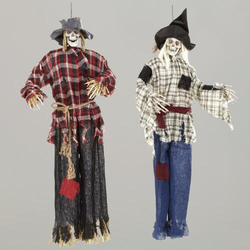 Skeleton Scarecrow Figures, Set of 2