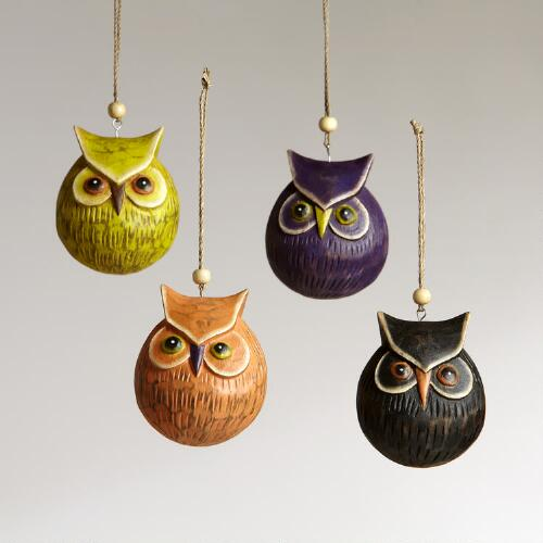 Wood Carved Owl Ornaments, Set of 4