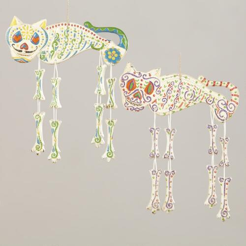 Hanging Los Muertos Skeleton Cats, Set of 2