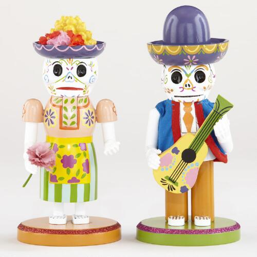 Wood Los Muertos Nutcracker Figures, Set of 2