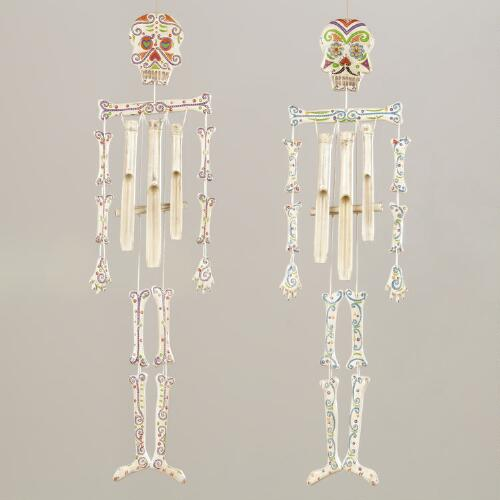 Los Muertos Skeleton Wind Chimes, Set of 2