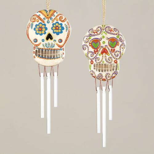 Mini Wood Los Muertos Skull Chimes, Set of 2