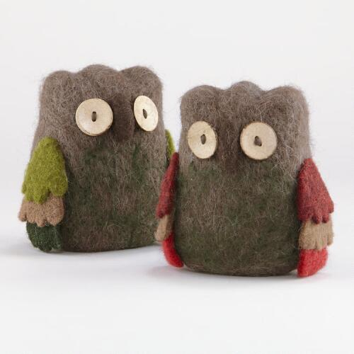 Felt Owls with Button Eyes, Set of 2