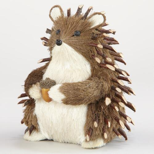 Natural Fiber Hedgehog with Acorn Tabletop Décor