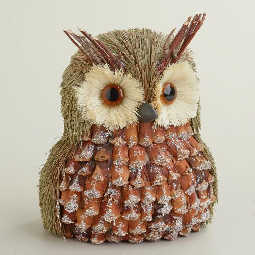 Natural Fiber Owl Tabletop Décor