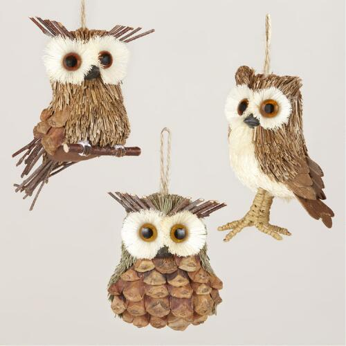 Natural-Fiber Owl Ornaments, Set of 3