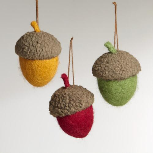 Felt Acorn Ornaments, Set of 3