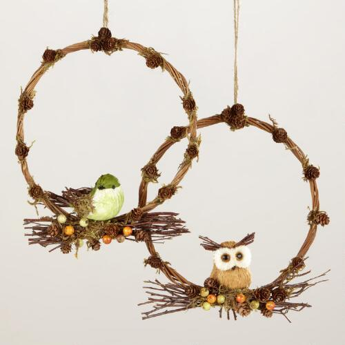 Owl and Bird Wreathes, Set of 2