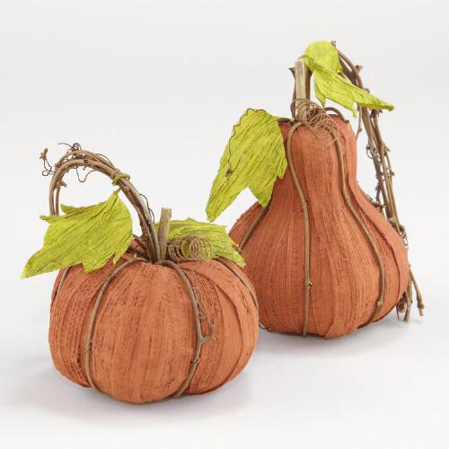 Large Natural Fiber Pumpkins, Set of 2