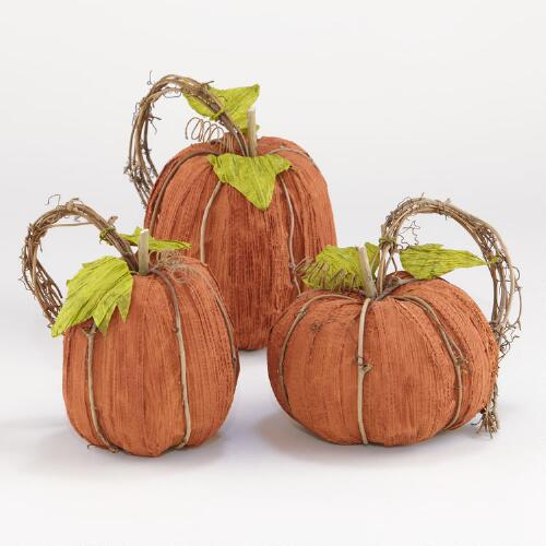 Small Natural Fiber Pumpkins, Set of 3