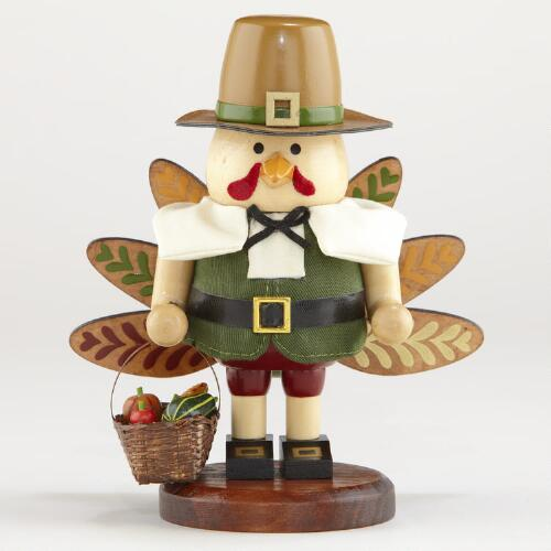 Wood Turkey Nutcracker Figure