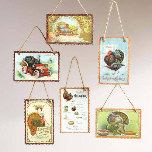 Vintage Reproduction Harvest Postcard Ornaments, Set of 6