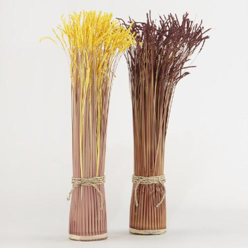 Decorative Autumn Grass Stacks, Set of 2