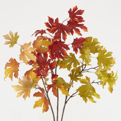 Glitter Maple Leaf Stems, Set of 3