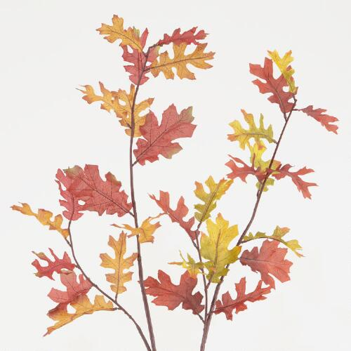 Fabric Oak Leaf Stems, Set of 2