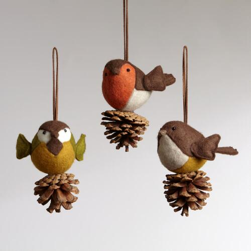 Felt Bird on Pinecone Ornaments, Set of 3