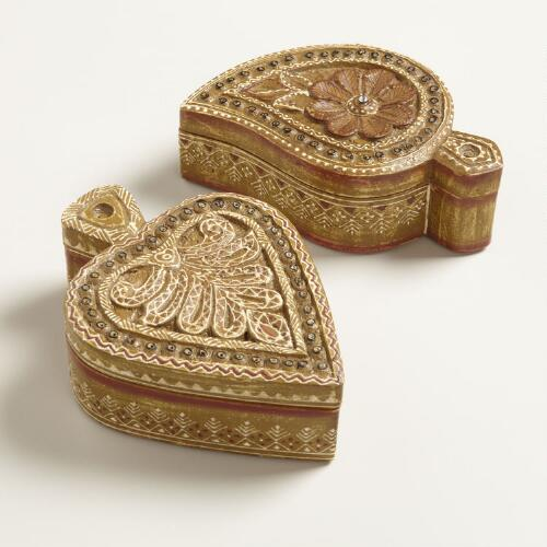 Assorted Wooden Painted Paisley Boxes, Set of 2