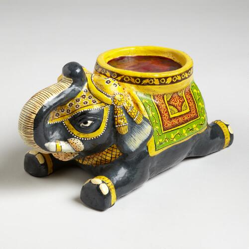 Painted Terracotta Elephant Holder