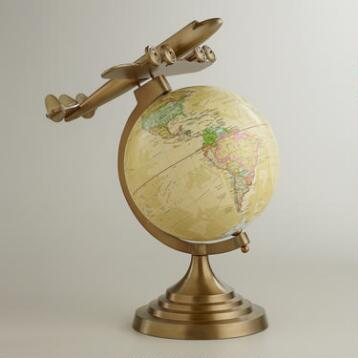 Antique Brass Plane Globe