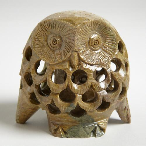 Natural Soapstone Owl