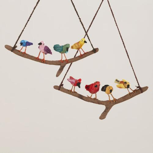 Assorted Felt Hanger Birds on Branch, Set of 2