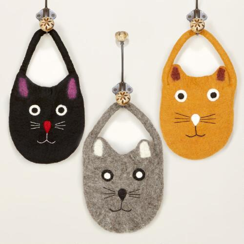 Assorted Felt Cat Bags, Set of 3