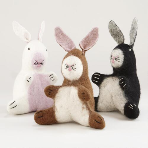 Assorted Felt Bunnies, Set of 3