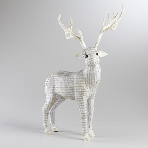 White Canvas Standing Reindeer