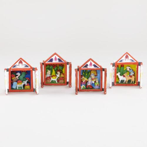 Assorted Small Square Retablos, Set of 4