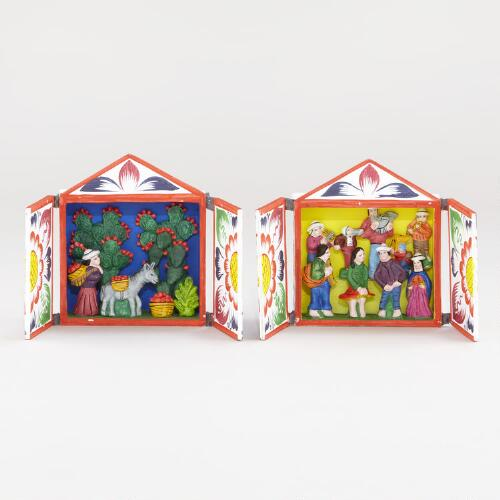 Assorted Medium Square Retablos, Set of 2
