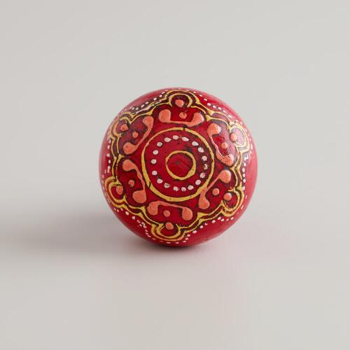 Red Painted Wooden Knobs, Set of 2