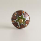 Brown, Green and Turmeric Metal Knobs, Set of 2