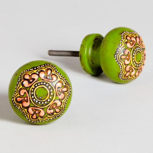 Green Painted Round Wooden Knobs, Set of 2