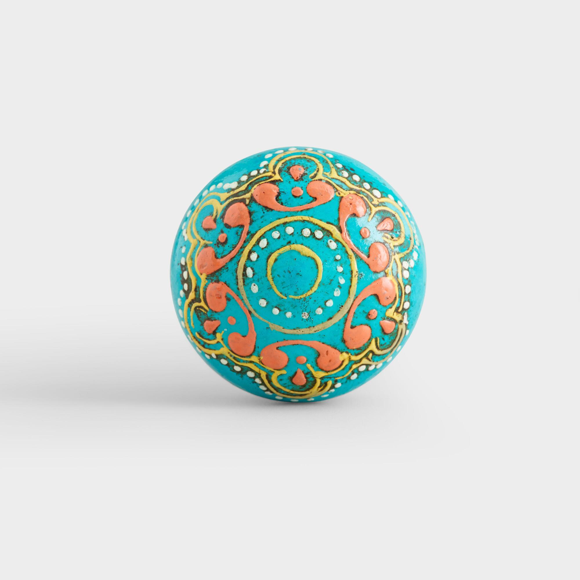 Turquoise Painted Wooden Knobs Set Of 2 World Market
