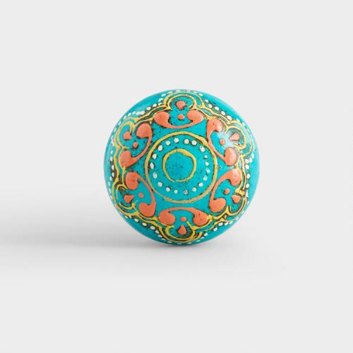 Turquoise Painted Wooden Knobs, Set of 2
