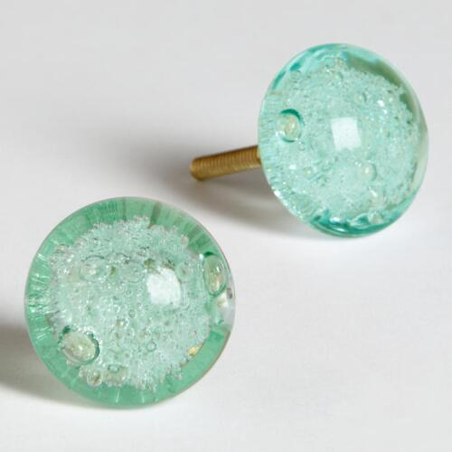 Light Green Glass Bubble Knobs, Set of 2