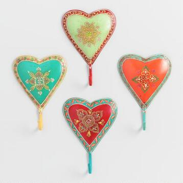 Painted Heart Hooks, Set of 4