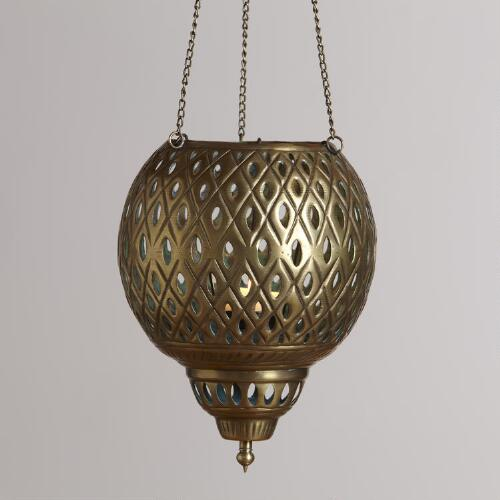 Small Hanging Punched Lantern Candleholder