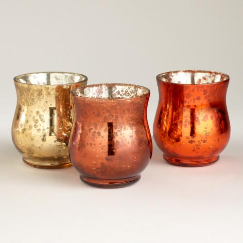 Fall Mercury Votive Candleholder, Set of 3