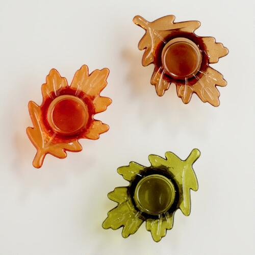 Leaf Tealight Candleholder, Set of 3