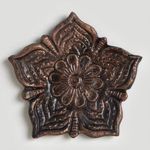 Embossed Metal Lotus Floral Pillar Plate