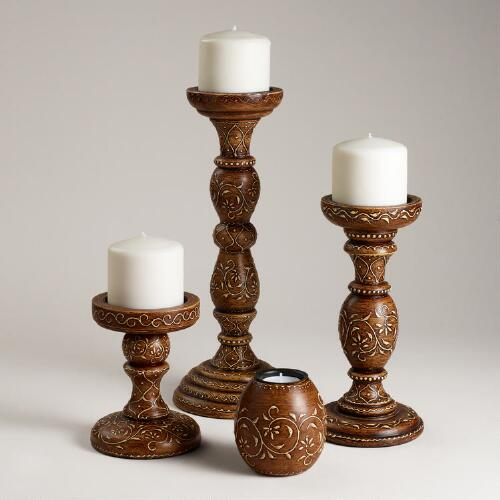 Brown Rena Pillar Candleholders