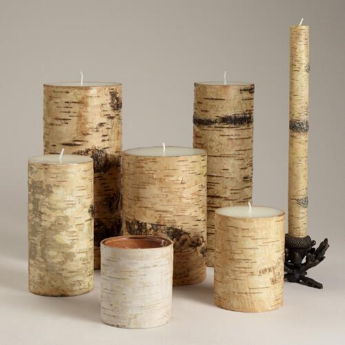 Birch Pillar Candle Collection, Set of 2