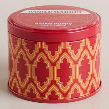 Asian Poppy Travel Candle Tin