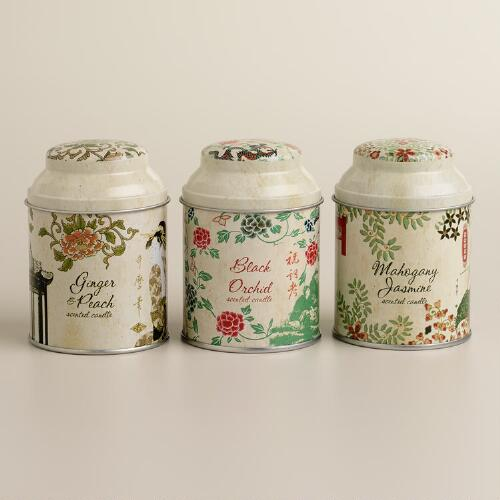 Filled Asian Tea Candle Tins, Set of 3