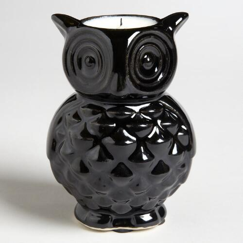 Black Ceramic Owl Candles,