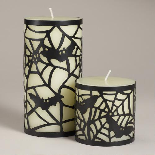 Caged Spiderweb Pillar Candle Collection
