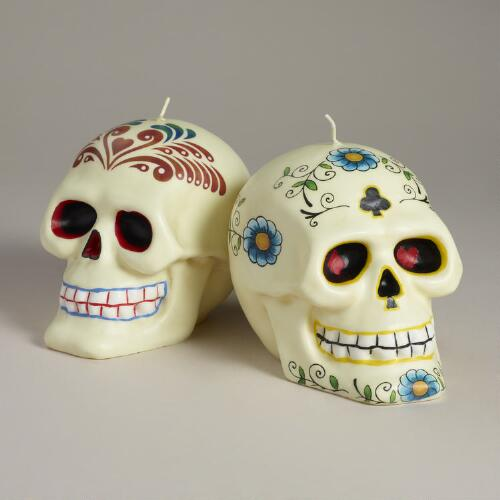 Los Muertos Skull Candles, Set of 2